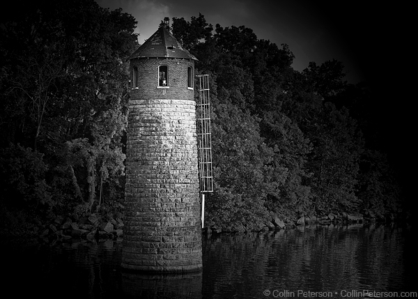 Nashville's Lighthouse in Black and White - The Waterworks Intake Tower