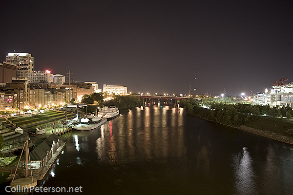 Downtown Nashville Cumberland River at Night